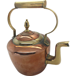 Antique Victorian Style Copper And Brass Kettle - Petite Sturdy Two Tone
