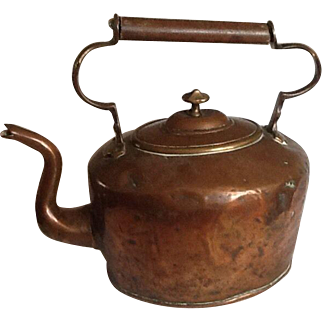 Antique Victorian Style Copper & Brass Kettle - Attractive