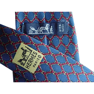 Hermes 939IA - Red Ropes On Blue Authentic Vintage Silk Tie