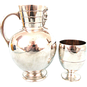 Silver Plate Water Pitcher and Goblet