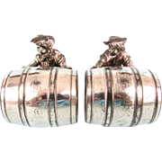 Silver Plate Novelty Napkin Rings, Meriden Style, Boy and Barrel