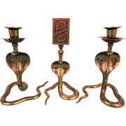 Indian Brass Cobra Candlesticks