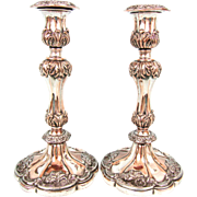 Old Sheffield Plate Pair of Candlesticks
