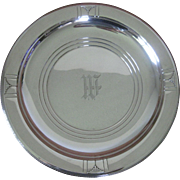 """14"""" Wallace Sterling Silver Round Tray or Platter in Rhythm Pattern"""
