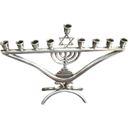 Menorah Judaica Hanukkah Vintage Camusso Israel Chanukah Jewish 9 Candle Sterling Silver