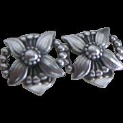 Georg Jensen Flower and Bead Ear Rings