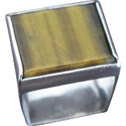 American Modernist Mary Schimpff Brutalist Sterling Silver Tiger Eye Ring