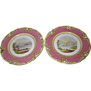 Antique Pink Hand Painted Topographical Old Paris Porcelain Plates