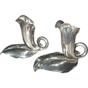 Vintage Pair of Cartier Inc Italy Sterling Silver Calla Lily Candle Holders  Candlesticks