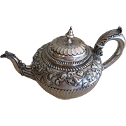 English Hand Chased Repousse Sterling Silver Teapot by Richard Sibley ll from 1854