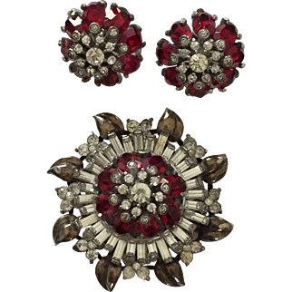 Vintage Signed Sterling Pennino Rhinestone Brooch and Earrings