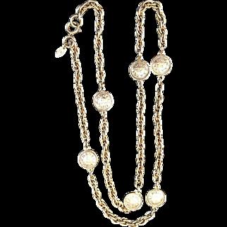 Vintage Signed Chanel Paris Rue Cambon Medallion Necklace