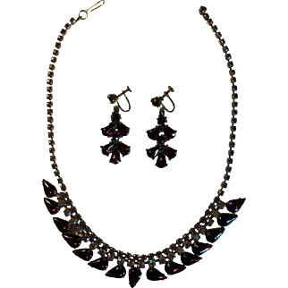 Vintage Purple Rhinestone Aura Borealis Necklace and Earrings