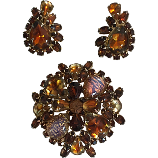 Vintage Signed Weiss Faux Topaz Brooch and Earring Set