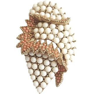 1960-70 Classy Ciner Paved Coral Seed & Milk Glass Bead Brooch