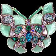 Butler & Wilson 1980s Multi-Color Green Confetti Butterfly Brooch