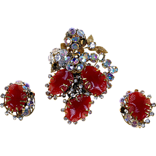 1942-1955 Original by Robert Floral and AB Crystal Brooch & Clip Earrings.