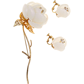 1960s Vendome Frosty White Celluloid Long Stem Rose Brooch and Earrings
