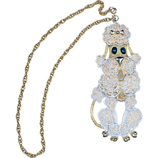 1950s Huge Vintage Filigree Articulated French Poodle Pendant Chain