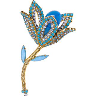 Weiss Blue Milk Glass and Paved Rhinestones Tulip Brooch