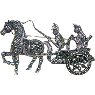 1800s Silver Marcasite Roman Gladiator Chariot and Horse Pin