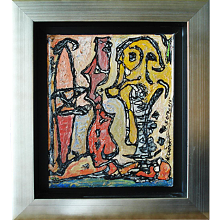 """Alexander Gore Russian/American 20th Century Original oil on Belgian linen signed, framed with COA """"Sea and spirit."""""""