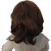 """Antique Brunette Human Hair Wig for French or German Doll"""