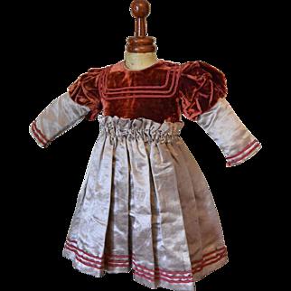 """""""Lovely Velvet and Silk Dress for Antique Doll"""""""