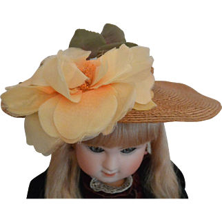 """Antique Straw Doll Hat with Vintage Bloom"""