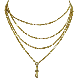 Victorian 15 ct gold long guard chain