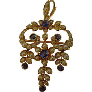 15 ct Gold Sapphire and Seed pearl Pendant / Brooch