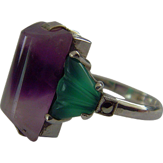 Art Deco Amethyst and Chrysoprase silver ring