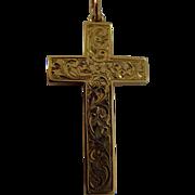 Edwardian engraved 9ct gold cross