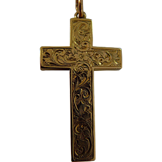 Edwardian engraved 9ct gold cross