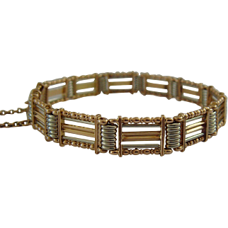 Antique 15ct gold and platinum 5 bar 12 gate Bracelet