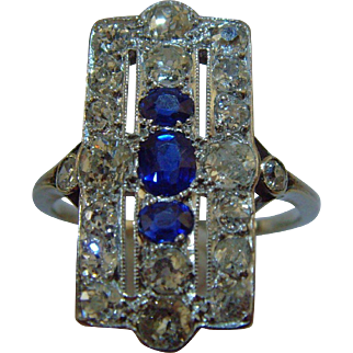 Art Deco Diamond and Sapphire White Gold Ring