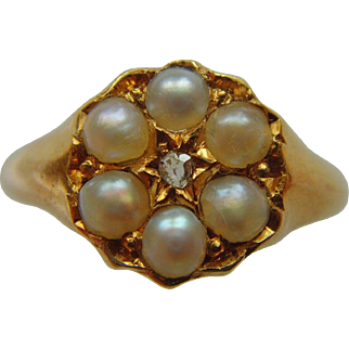 Victorian pearl and diamond flower ring