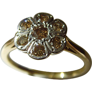 Vintage 18ct 7 stone cognac / chocolate diamond ring