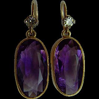 Art Deco 18 ct Amethyst and Diamond drop earrings