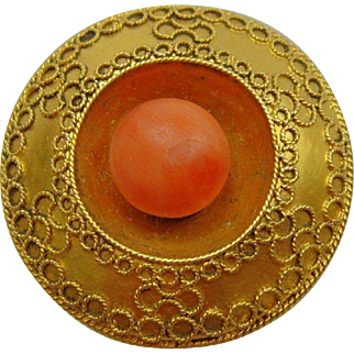 Victorian 15 ct gold Coral Target Brooch