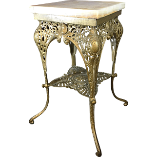 c1880 Bradley & Hubbard Cast iron & Marble Conservatory Plant Stand