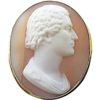 Outstanding Vintage 14k Gold and Carved Cameo Male Profile