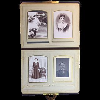 Antique Leather Photo Album 30 Photos 2 Mourning