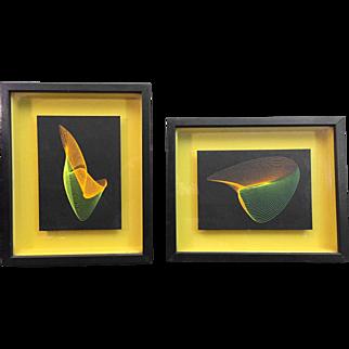 "Mid-Century Screen Print Fluorescent ""String Art"" Wall Decor"