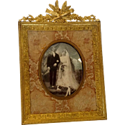 Antique French Dore Bronze Picture Frame with Fabric Mat