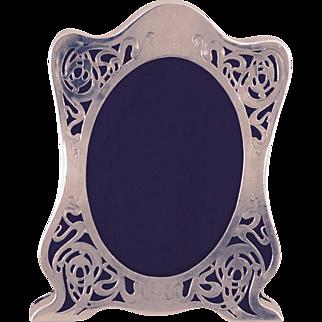 Antique Art Nouveau Sterling Silver Picture Frame, Unique Form and Piercing