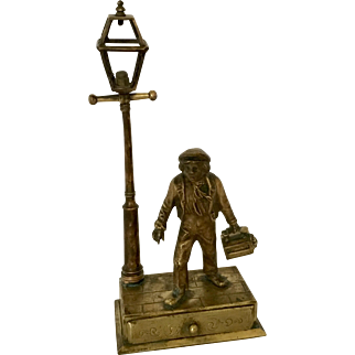 Vintage Figural Brass Shoeshine Boy Box