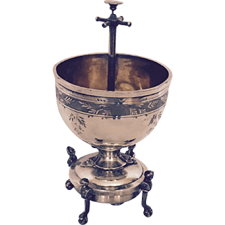 Silverplate Spoon Holder with Tap Bell, Figural Base