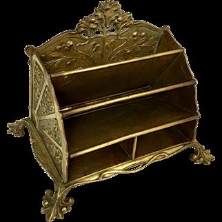 Art Nouveau Large Brass Letter Holder, Very Decorative