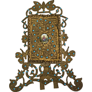 Antique Jeweled Brass Frame with Doors, Butterflies